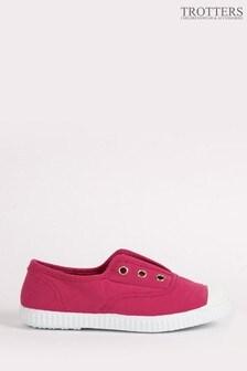 Trotters London Raspberry Plum Canvas Shoes