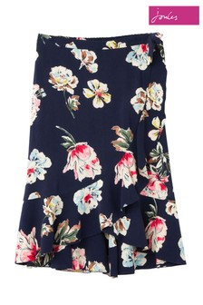 Joules Blue Catrina Frill Midi Mock Wrap Skirt