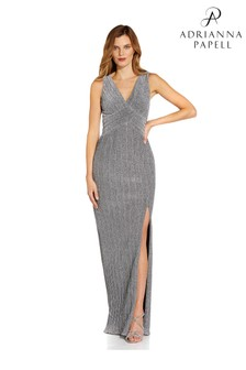 Adrianna Papell Silver Metallic Pleated Gown