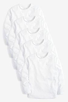 White 5 Pack Long Sleeve T-Shirts (3-16yrs)