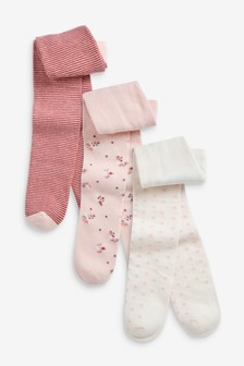 Pink/Cream 3 Pack Floral Tights (0mths-2yrs)