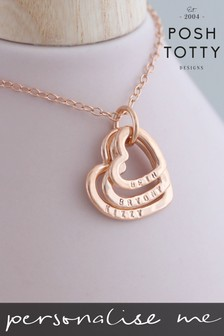 Personalised Family Names Heart 18ct Rose Gold Plate Necklace by Posh Totty Designs