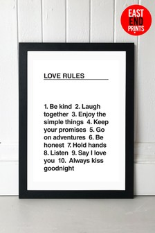 Love Rules Framed Print by East End Prints