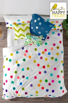 Happy Friday Confetti Cotton Duvet Cover and Pillowcase Set