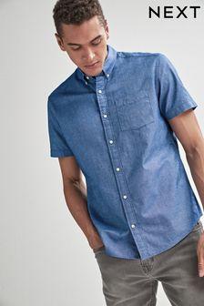 Blue Regular Fit Short Sleeve Oxford Shirt