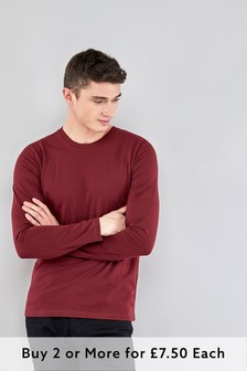 Burgundy Regular Fit Long Sleeve Crew Neck T-Shirt