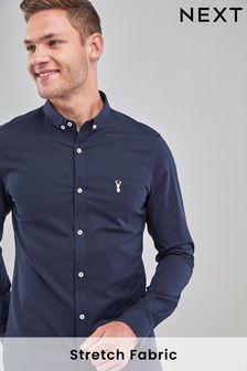 Navy Skinny Fit Long Sleeve Stretch Oxford Shirt