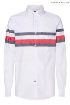 Tommy Hilfiger White Slim Global Stripe Shirt