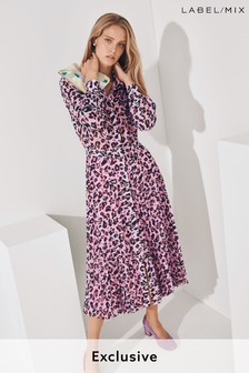 1c5524e25099 Pink Mix/Huishan Zhang Leopard Print Shirt Dress