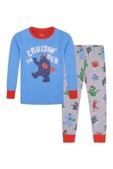 Boys Organic Cotton Grey/Blue Pyjamas Two Pack
