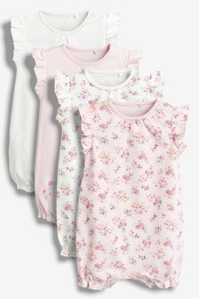 Pink Ecru Floral Rompers Four Pack (0mths-2yrs) f9e2af15a
