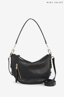 Mint Velvet Cecelia Black Leather Bag