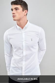 White Skinny Fit Long Sleeve Stretch Oxford Shirt