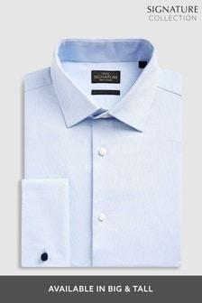Light Blue Regular Fit Double Cuff Signature Textured Shirt