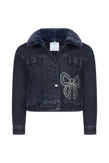 Girls Navy Cotton Denim Jacket