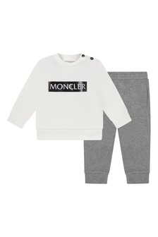 Baby Boys Ivory/Grey Cotton Tracksuit