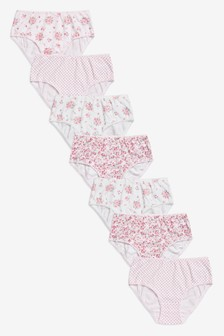 Pink 7 Pack Floral Briefs (1.5-12yrs)