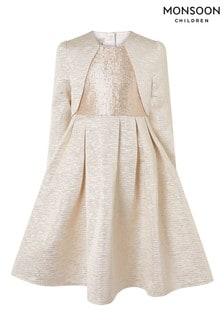 Monsoon Adelaide Jacquard Dress And Jacket Set