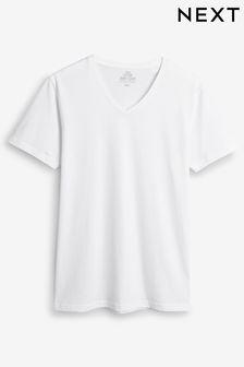 White V-Neck T-Shirts Five Pack