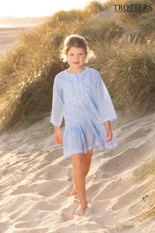 Trotters London Blue Embroidered Kaftan