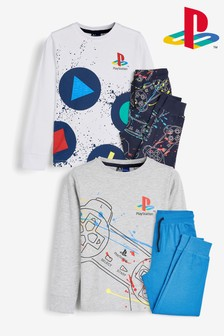 Grey 2 Pack PlayStation™ Pyjamas (3-16yrs)