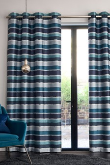 Expressionist Stripe Eyelet Lined Curtains