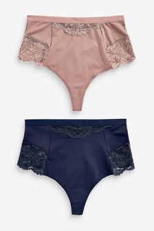 Navy/Taupe Shaping Thongs Two Pack
