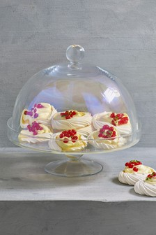 Lustre Glass Cake Stand And Cloche