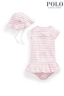 Ralph Lauren Pink And White Stripe Three Piece Gift Box Set