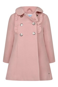 Girls Pink Double Breasted Coat
