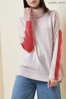 Pink  Mix/J.Won Merino Cashmere Boxy Roll Neck Knit