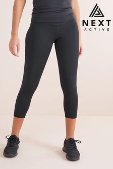 Black High Waisted Mid Length Sculpting Leggings