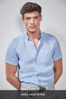 Blue Regular Fit Short Sleeve Linen Shirt