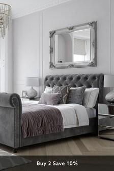Opulent Velvet Steel Westcott Sleigh Bed