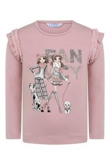 Girls Pink Fashionistas Cotton Long Sleeve T-Shirt