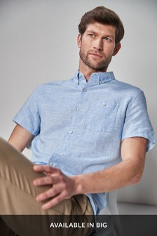 Blue Regular Fit Linen Blend Short Sleeve Shirt