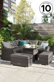 Dark Grey Weave with Dark Grey Cushions Monaco Slim Living And Dining Table Garden Set