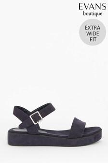 Evans Extra Wide Fit Navy Flatform Sandals