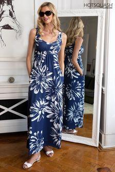 HotSquash Blue With White Flower Empire Line Maxi Dress