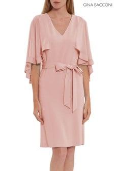 Gina Bacconi Pink Chestina Moss Crepe Dress With Cape
