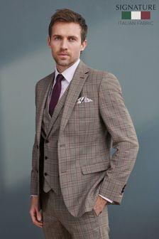Grey Check Signature T G Di Fabio Fabric Slim Fit Suit: Jacket