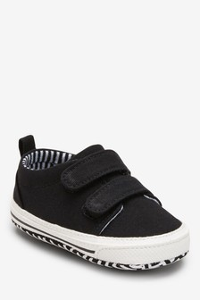 Black Two Strap Pram Shoes (0-24mths)