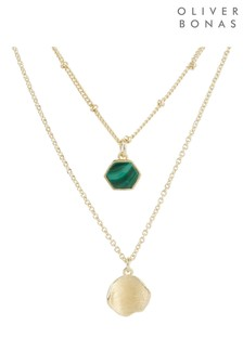 Oliver Bonas Maceo Hexagon Stone & Drop Double Row Gold Plate Necklace