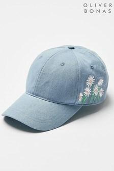 Oliver Bonas Blue Denim Flowers Embroidered Cap