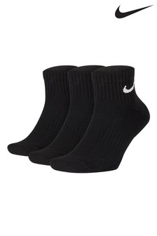 Nike Black Cushioned Ankle Mid Cut Socks Three Pack