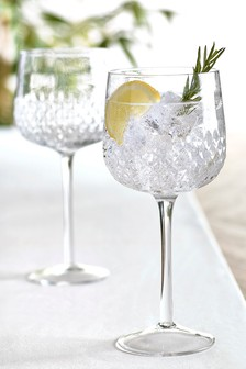 Albany Embossed Set of 2 Gin Glasses