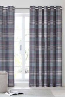 Hadley Check Eyelet Curtains