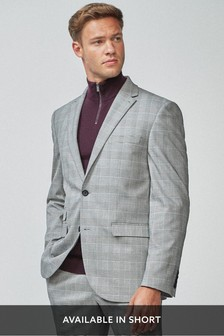 Grey Tailored Fit Check Suit: Jacket