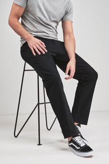 Black Relaxed Fit Stretch Chino Trousers