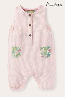 Boden Pink Contrast Pocket Woven Romper